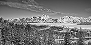 Grand Tetons National Park in winter as seen from Snake River Overlook. January 2013.