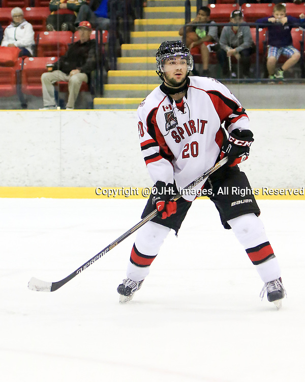 WELLINGTON, ON - Oct 9, 2015 : Ontario Junior Hockey League game action between Stouffville and Wellington ,Ryan DaSilva #20 of the Stouffville Spirit during the third period <br /> (Photo by Ed McPherson / OJHL Images)