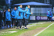 Forest Green Rovers manager, Mark Cooper and Forest Green Rovers assistant manager, Scott Lindsey shout instructions during the Vanarama National League match between Forest Green Rovers and Torquay United at the New Lawn, Forest Green, United Kingdom on 1 January 2017. Photo by Shane Healey.