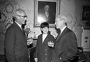 14/07/1967<br /> 07/14/1967<br /> 14 July/1967<br /> Miss Ireland-America visits Powers Distillery, John's Lane, Dublin. Pictured are (l-r): Mr John A. Ryan, Joint Managing Director, John Power and Son Ltd.; Miss Patricia McCoy, Miss Ireland-America and Mr. Richard Goeppert, Charde d'Affaires, U.S. Embassy, Dublin. Miss McCoy (21) was in Ireland for a week long visit having won her title in Newark, New Jersey.