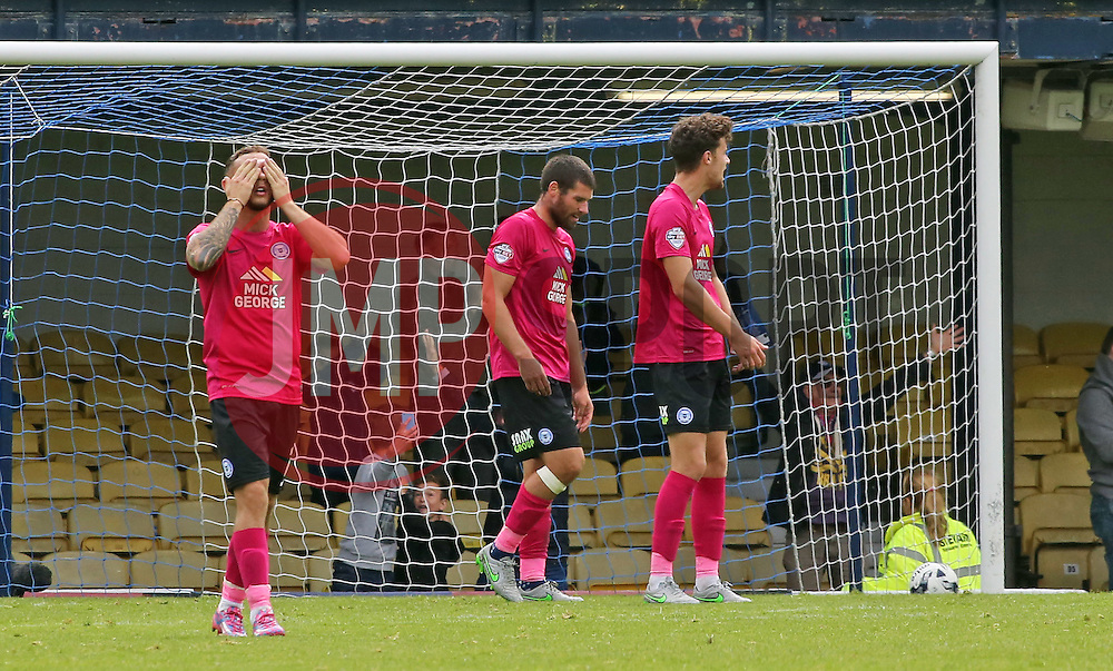 Jon Taylor of Peterborough United (left) shows his frustration after conceding the second goal - Mandatory byline: Joe Dent/JMP - 07966386802 - 05/09/2015 - FOOTBALL - Roots Hall -Southend,England - Southend United v Peterborough United - Sky Bet League One