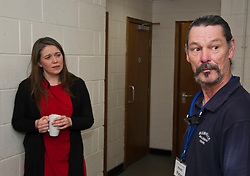 Pictured: Aileen Campbell and centre manager Peter Airlie<br /> <br /> Communities Secretary Aileen Campbell visited the Muirhouse Millennium Centre in Edinburgh today and met with support workers of the Low Income Families Together project as the latest update on tackling poverty was published.<br /> <br /> Ger Harley| EEm 20 December 2018