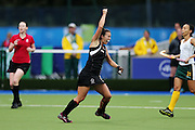 Jordan Grant of New Zealand celebrates her second goal during the bronze medal match between New Zealand and South Africa. Glasgow 2014 Commonwealth Games. Hockey, Bronze Medal Match, Black Sticks Women v South Africa, Glasgow Green Hockey Centre, Glasgow, Scotland. Saturday 2 August 2014. Photo: Anthony Au-Yeung / photosport.co.nz