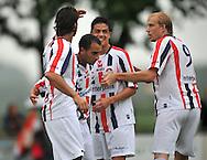 15-07-2008 VOETBAL:CSKA SOFIA - WILLEM II:TILBURG<br /> Sa&iuml;d Boutahar wordt gefeliciteerd met zijn doelpunt door Mourad, Veloso en Demouge<br /> Foto: Geert van Erven