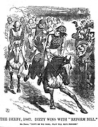 Punch cartoon 'Day at the races' Derby Day 1867. Depicts Benjamin Disraeli (British Prime Minister) winning the race with the Reform Bill. Punch magazine 1867