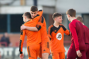 St Johns' Lewis Neilson is congratulated after scoring the first of his four goals -  St.John's v Harris in the U15 Senior Sports Cup Final (sponsored by DSA) at Dens Park, Dundee<br /> <br /> <br />  - &copy; David Young - www.davidyoungphoto.co.uk - email: davidyoungphoto@gmail.com