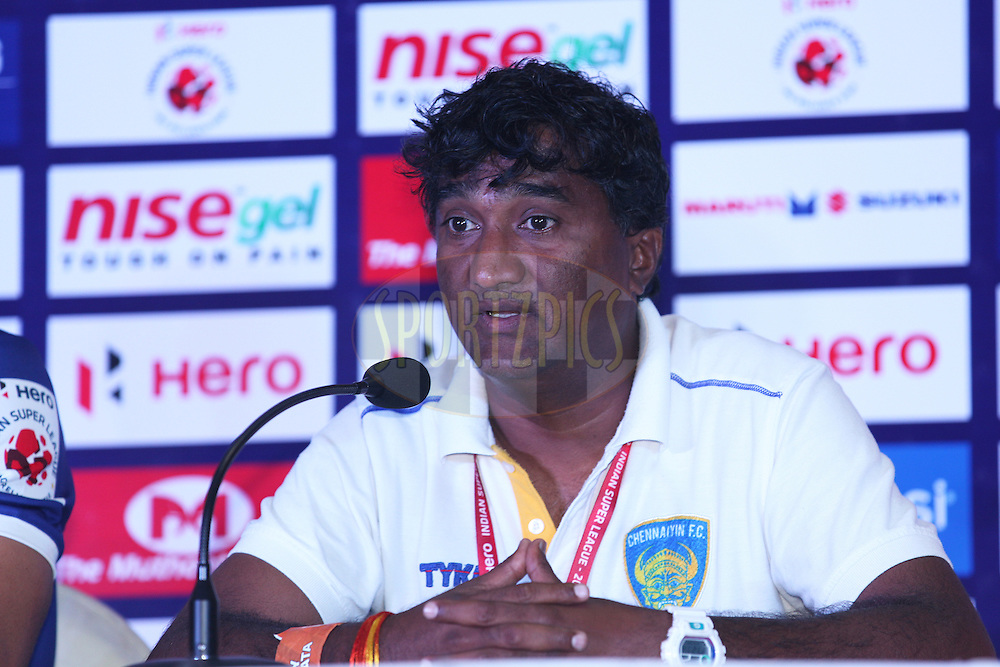 cfc asst coach Vivek Nagel at pc during match 31 of the Hero Indian Super League between Atl&eacute;tico de Kolkata and Chennayin FC held at the Salt Lake Stadium in Kolkata, West Bengal, India on the 14th November 2014.<br /> <br /> Photo by:  Saikat Das/ ISL/ SPORTZPICS
