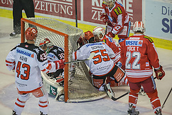 02.10.2015, Stadthalle, Klagenfurt, AUT, EBEL, EC KAC vs HC TWK Innsbruck Die Haie, im Bild Derek Hahn (HC TWK Innsbruck Die Haie #43), Nick Schaus (HC TWK Innsbruck Die Haie #55), Andy Chiodo (HC TWK Innsbruck Die Haie #30), Thomas Pöck (EC KAC, #22), Manuel Ganahl (EC KAC, #17) // during the Erste Bank Eishockey League match betweeen EC KAC and HC TWK Innsbruck Die Haie at the City Hall in Klagenfurt, Austria on 2015/190/02. EXPA Pictures © 2015, PhotoCredit: EXPA/ Gert Steinthaler