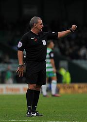 Referee Brendan Malone gives orders  - Mandatory by-line: Nizaam Jones/JMP - 29/10/2016/ - FOOTBALL - Hush Park - Yeovil, England - Yeovil Town v Grimsby Town - Sky Bet League Two