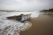 Cuai Dai Beach. A typhoon out at sea probably sank this stranded Chinese fishing vessel.