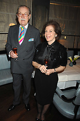 ALAN WHICKER and his wife VALERIE at a party to promote The Landau at The Langham, Portland Place, London W1 on 7th February 2008.<br />