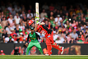 17th February 2019, Marvel Stadium, Melbourne, Australia; Australian Big Bash Cricket League Final, Melbourne Renegades versus Melbourne Stars; Sam Harper of the Melbourne Renegades flicks the ball down leg side