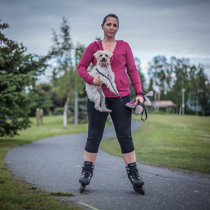 "Special education teacher Terri Dreeszen and her dog Pebbles on the bike trail near Westchester Lagoon, Anchorage  ""She always keeps up…and sometimes she actually pulls!""  tdreezen@gmail.com"