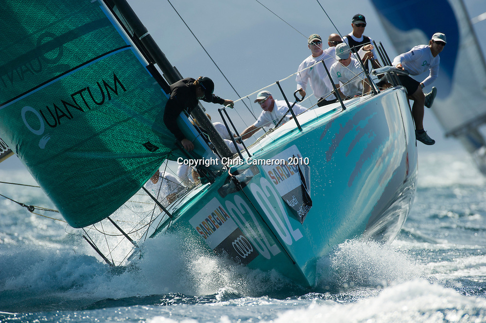 Quantum Racing (USA) practice races against other Audi MedCup teams before the Trofee of Sardinia regatta. 19/10/2010
