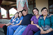 Dr Sanduk Ruit with daughters Satenla, Serabla, Ruth Hollows and wife Nanda between surgery at Pullahari Monestry on the outskirts of Kathmandu Nepal 2014