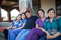 Dr Sanduk Ruit with daughters Satenla, Serabla, Ruth Hollows and wife Nanda between surgery at Pullahari Monestry on the outskirts of Kathmandu Nepal 2014