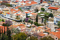 Greece, Athens. View of Athens from the famous Acropolis. Tower of the Winds is an octagonal clock tower in the Agora of Athens.
