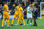 Mohamed Elyounoussi (#27) of Celtic FC gives his shirt to a young fan at the end of the Ladbrokes Scottish Premiership match between Livingston FC and Celtic FC at The Tony Macaroni Arena, Livingston, Scotland on 6 October 2019.