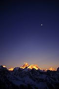 Moonrise above Mount Everest and several of the highest mountains in the world. Kumbu.