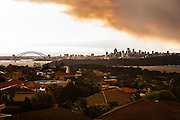A blanket of smoke descends on Sydney viewed from Christison Park, Watsons Bay, Sydney, Australia.
