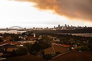 A blanket of smoke descends on Sydney viewed from Christison Park, Watsons Bay, Sydney, Australia.