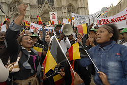 ANTWERP, BELGIUM - APRIL-21-2006 - Asylum seekers without legal papers demonstrate in Brussels. (PHOTO © JOCK FISTICK)