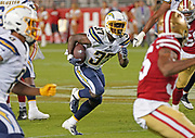 Los Angeles Chargers running back Derrick Gore (37) runs with the ball during an NFL football game, Thursday, Aug. 29, 2019, in Santa Clara, Calif. (Dylan Stewart/Image of Sport)