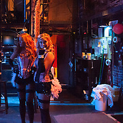 """Vaud and the Villains' """"leggy dancin' dames"""" in the wings waiting to go on stage at The Music Hall"""