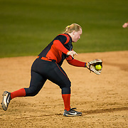 02 March 2018: San Diego State softball hosts Minnesota on day two of the San Diego Classic I at Aztec Softball Stadium. San Diego State third baseman Molly Sturdivant (31) fields a ground ball and throws to first for the final out against Minnesota. The Aztecs beat the #21/20 Gophers 6-2.<br /> More game action at sdsuaztecphotos.com