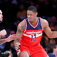 27 January 2015: Washington Wizards center Kevin Seraphin (13) posts up Los Angeles Lakers center Robert Sacre (50) during the Washington Wizards 98-92 victory over the Los Angeles Lakers, at the Staples Center, Los Angeles, California, USA.