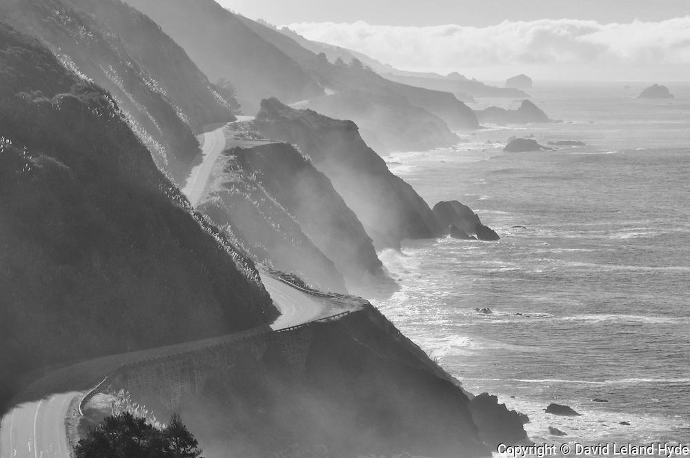 Pacific Coast Highway 1 California Coast, Big Sur, Los Padres National Forest, Monterey County, El Sur Ranch, ocean waves, big surf, ocean mist