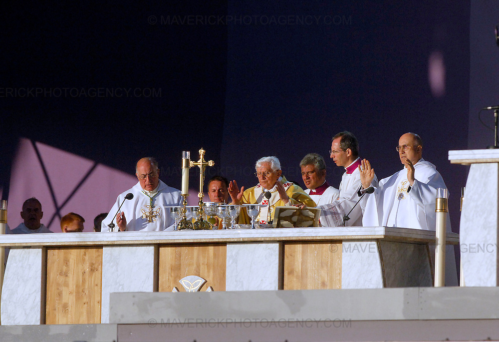 GLASGOW, UK - 16th September 2010: Pope Benedict XVI holds an open air mass at Bellahouston Park in Glasgow on the first day of his four day state visit to the UK...Picture shows Pope Benedict XVI conducts Mass at Bellahouston Park...(Photograph: Richard Scott/MAVERICK)