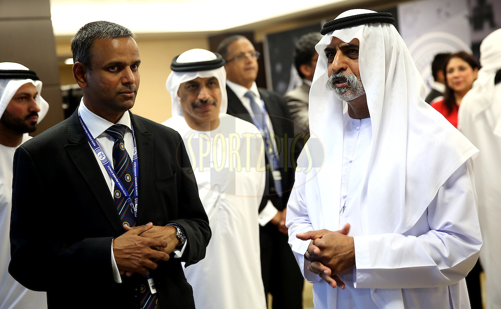 His Excellency Shaikh Nahayan Mubarak(L) and IPL COO Sundar Raman(R)  during match 20 of the Pepsi Indian Premier League Season 2014 between the Mumbai Indians and the Sunrisers Hyderabad held at the Dubai International Stadium, Dubai, United Arab Emirates on the 30th April 2014<br /> <br /> Photo by Sandeep Shetty / IPL / SPORTZPICS