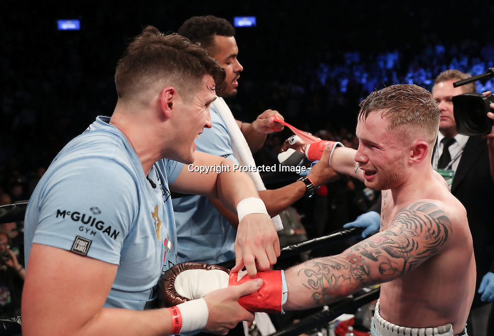 WBA featherweight Title Contest, Barclays Centre, Brooklyn, NY, USA 30/7/2016<br />Carl Frampton celebrates with his coach Shane McGuigan after his fight Leo Santa Cruz<br />Mandatory Credit &copy;INPHO/Presseye/William Cherry