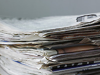 Stack of newspapers close up