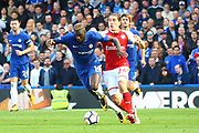 Chelsea's Tiemoue Bakayoko and Arsenal Defender Héctor Bellerín during the Premier League match between Chelsea and Arsenal at Stamford Bridge, London, England on 17 September 2017. Photo by John Potts.