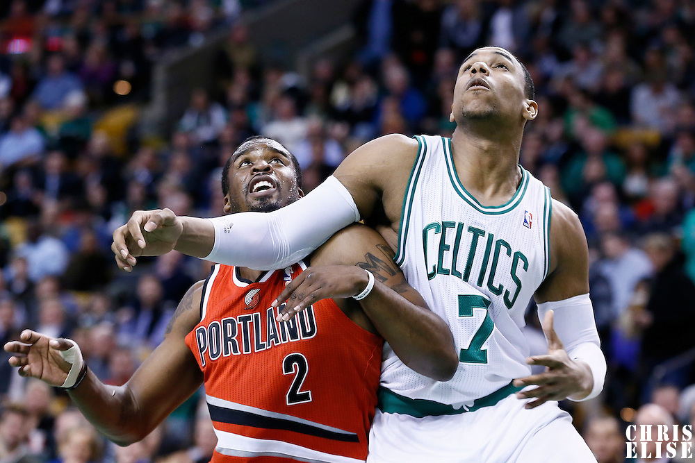 30 November 2012: Portland Trail Blazers shooting guard Wesley Matthews (2) vies for the rebound with Boston Celtics power forward Jared Sullinger (7) during the Boston Celtics 96-78 victory over the Portland Trail Blazers at the TD Garden, Boston, Massachusetts, USA.
