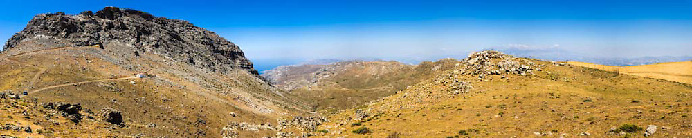 The Asterousia Mountains are the range running parallel to the south coast of Heraklion Prefecture, Crete forming a natural wall between the coast and the Mesara plain. The Asterousia Mountains run from Maridaki, east of Pyrgos, and Charakas to Matala in the west