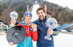 26.03.2017, Planica, Ratece, SLO, FIS Weltcup Ski Sprung, Planica, Siegerehrung, im Bild Gesamtweltcup- und Skiflug Weltcup Sieger Stefan Kraft (AUT) und sein Manager Patrick Murnig // Overall World Cup and Ski Flying World Cup winner Stefan Kraft of Austria and his manager Patrick Murnig during the Winner Award Ceremony of the FIS Ski Jumping World Cup Final 2017 at Planica in Ratece, Slovenia on 2017/03/26. EXPA Pictures © 2017, PhotoCredit: EXPA/ JFK