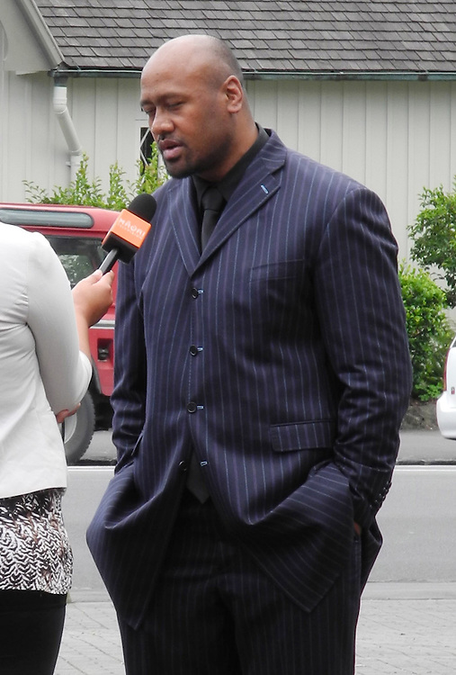 Jonah Lomu arrives for the funeral of broadcaster Sir Paul Holmes at the Holy Trinity Cathedral, Parnell, Auckland, New Zealand, Friday, February 08, 2013. Credit:SNPA / Ross Land