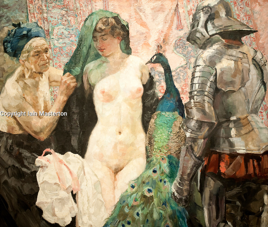Painting The Temptation of the Knight by Willhelm Galhof at Berlinische Galerie modern art museum in Berlin Germany