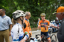 Anna van der Breggen (NED) and Megan Guarnier (USA) of Boels-Dolmans Cycling Team chat about Stage 2 of the Giro Rosa - a 122.2 km road race, between Zoppola and Montereale Valcellina on July 1, 2017, in Pordenone, Italy. (Photo by Balint Hamvas/Velofocus.com)