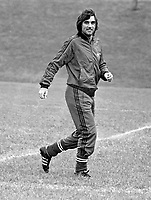 Belfast-born footballer George Best during a training session prior to the N Ireland International team playing Iceland at Windsor Park, Belfast. 19770920182d<br /> <br /> Copyright Image from Victor Patterson, 54 Dorchester Park, Belfast, UK, BT9 6RJ<br /> <br /> t1: +44 28 9066 1296 (from Rep of Ireland 048 9066 1296)<br /> t2: +44 28 9002 2446 (from Rep of Ireland 048 9002 2446)<br /> m: +44 7802 353836<br /> <br /> victorpattersonbelfast@gmail.com<br /> victorpatterson@me.com<br /> <br /> www.victorpatterson.com<br /> <br /> Please see my Terms and Conditions of Use at https://www.victorpatterson.com/page2<br /> It is IMPORTANT that you familiarise yourself with them.<br /> <br /> Images used on the Internet incur an additional cost and must be visibly watermarked i.e. © Victor Patterson within the body of the image and copyright metadata must not be deleted. Images used on the Internet have a size restriction of 4kbs and are chargeable at rates available at victorpatterson.com.<br /> <br /> This image is available only for the use of the download recipient i.e. television station, newspaper, magazine, book publisher, etc, and must not be passed on to any third party. It is also downloaded on condition that each and every usage is notified within 7 days to victorpatterson@me.com<br /> <br /> The right of Victor Patterson (or the named photographer) to be identified as the author is asserted in accordance with The Copyright Designs And Patents Act (1988). All moral rights are asserted.