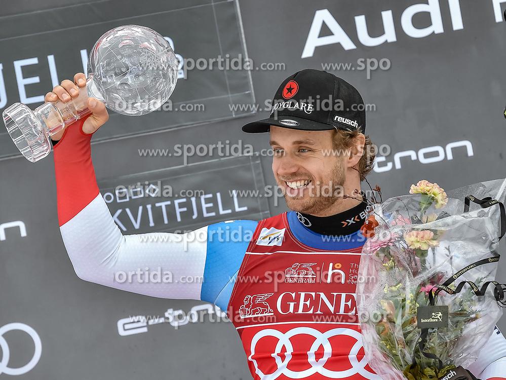 08.03.2020, Kvitfjell, NOR, FIS Weltcup Ski Alpin, SuperG, Herren, Siegerehrung SuperG Weltcup Saison 2019/20, im Bild Mauro Caviezel (SUI, Saison 2019/20 SuperG Weltcup 1. Platz) // SuperG World Cup overall winner Mauro Caviezel of Switzerland for the men's Super G overall ranking of FIS ski alpine world cup 2019/20 season. Kvitfjell, Norway on 2020/03/08. EXPA Pictures © 2020, PhotoCredit: EXPA/ Jonas Ericson