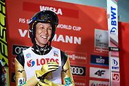 Poland, Wisla Malinka - 2017 November 18: Noriaki Kasai from Japan smiles while Men's Team HS134 competition during FIS Ski Jumping World Cup Wisla 2017/2018 - Day 2 at jumping hill of Adam Malysz on November 18, 2017 in Wisla Malinka, Poland.<br /> <br /> Mandatory credit:<br /> Photo by © Adam Nurkiewicz<br /> <br /> Adam Nurkiewicz declares that he has no rights to the image of people at the photographs of his authorship.<br /> <br /> Picture also available in RAW (NEF) or TIFF format on special request.<br /> <br /> Any editorial, commercial or promotional use requires written permission from the author of image.