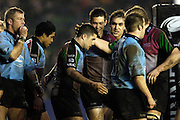 2005/06, National League One, NEC Harlequins vs Otley, Simon Keogh [centre] is congratulated by team mates as Quins's continue their unbeaten run, running out winners against Oatley by 43 points to 3,  at the Stoop, Twickenham ENGLAND, 14.01.2006    © Peter Spurrier/Intersport Images - email images@intersport-images.   [Mandatory Credit, Peter Spurier/ Intersport Images].