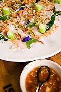 ?Moo manow?, KUROBUTA PORK LOIN SALAD: Preserved Meyer lemon and Asian broccoli in a chili-lime dressing at Issaya Siamese Club