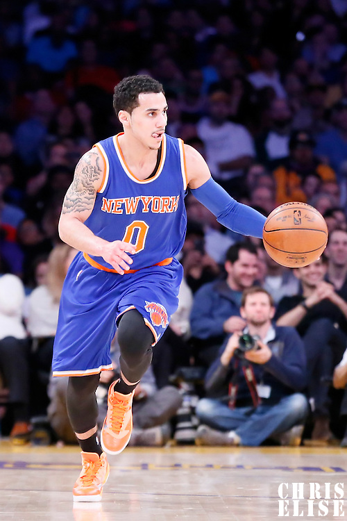 12 March 2015: New York Knicks guard Shane Larkin (0) brings the ball up court during the New York Knicks 101-94 victory over the Los Angeles Lakers, at the Staples Center, Los Angeles, California, USA.