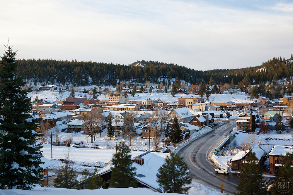 """Downtown Truckee 3"" - This snowy scene of Downtown Truckee, CA was photographed in an incredible snowy November, called Snovember by some locals."