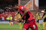 York City forward Vadaine Oliver celebrates his goal  during the Sky Bet League 2 match between York City and Dagenham and Redbridge at Bootham Crescent, York, England on 20 October 2015. Photo by Simon Davies.